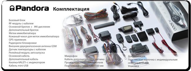 Комплектация автосигнализации Pandora DXL 5000 new